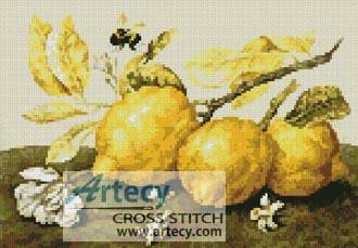 cross stitch pattern Three Lemons with a Bumble Bee