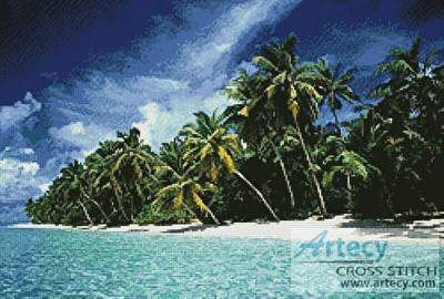 cross stitch pattern Tropical Island