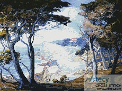 cross stitch pattern Villa on the Monterey Coast