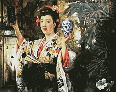 cross stitch pattern Young Lady Holding Japanese Objects