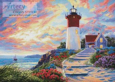Artecy Cross Stitch. Mini Lighthouse Painting Cross Stitch Pattern