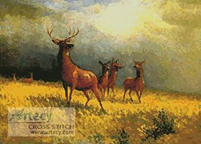 cross stitch pattern Deer in a Field