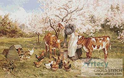 cross stitch pattern Feeding Time in the Orchard