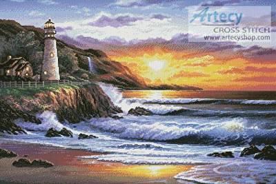 Lighthouse At Sunset Cross Stitch Pattern Seaside