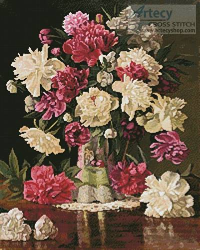 cross stitch pattern Peonies