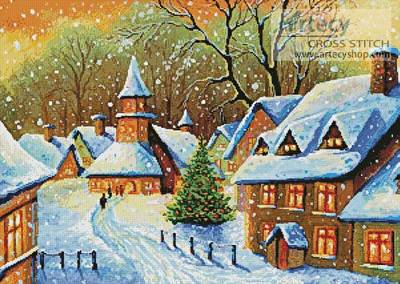cross stitch pattern Snowy Village