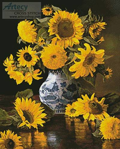 Sunflowers In A Blue And White Vase Cross Stitch Pattern