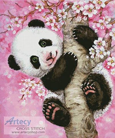 Panda. Cross Stitch PDF Pattern by andwabisabi on Etsy