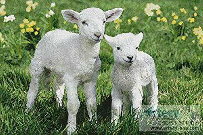 Easter Lambs Cross Stitch Pattern Animals