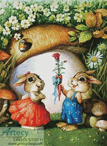 cross stitch pattern Rabbits and Carrot Rose