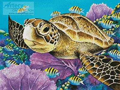 cross stitch pattern Young Green Sea Turtle