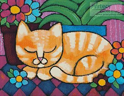 cross stitch pattern Orange Tabby Cat