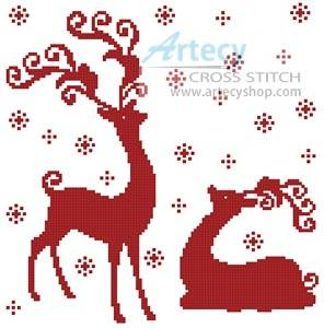 cross stitch pattern Reindeer Silhouettes