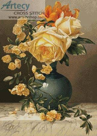 cross stitch pattern Yellow Roses in a Vase