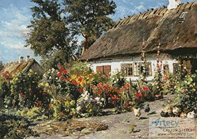 cross stitch pattern A Cottage Garden with Chickens