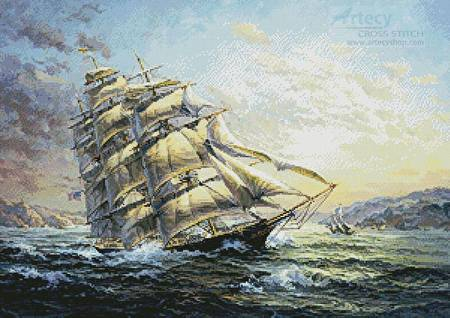 cross stitch pattern Clipper Ship Surprise