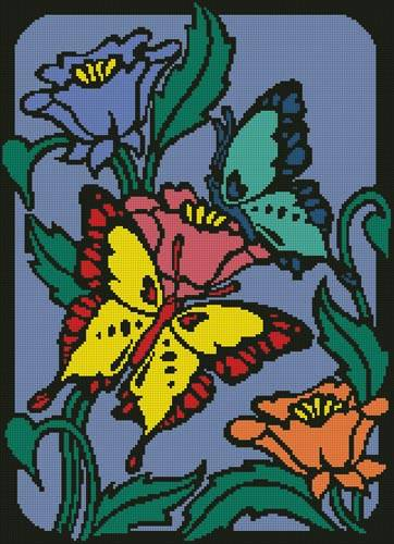 cross stitch pattern Butterflies and Flowers