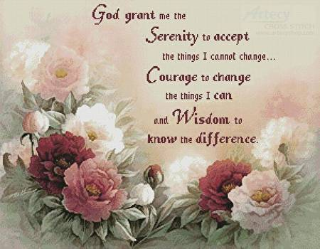 Floral Serenity Prayer Cross Stitch Pattern Religious