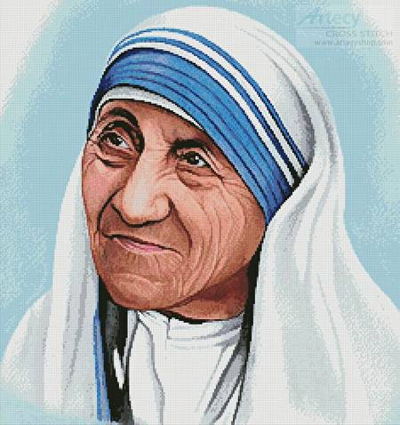 cross stitch pattern Mother Teresa