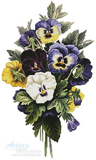 pansy bouquet cross stitch pattern paintings