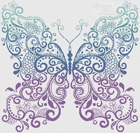 Purple Blue Green Butterfly Cross Stitch Pattern Fantasy