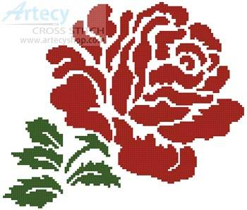 cross stitch pattern Rose Silhouette