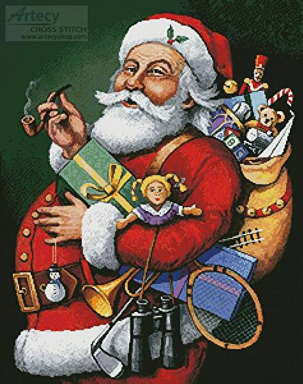cross stitch pattern Saint Nick and all his Toys