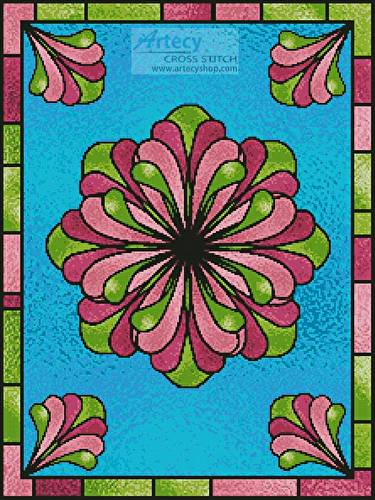 cross stitch pattern Stained Glass Floral 2