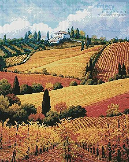 cross stitch pattern Tuscan Colors