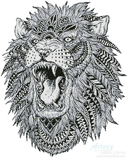 Abstract Lion Cross Stitch Pattern