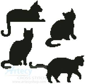 cross stitch pattern Cat Silhouettes