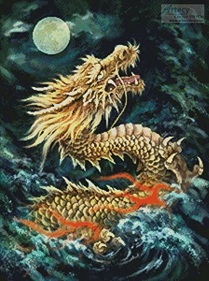 cross stitch pattern Dragon in the Moonlight