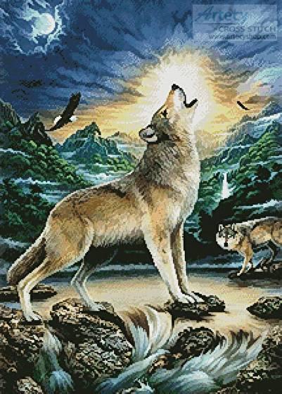 Howling Wolf Cross Stitch Pattern animals
