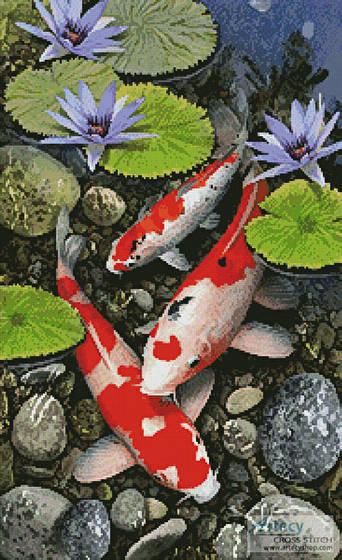 Koi Pond Cross Stitch Pattern fish