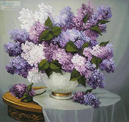 Lilac Romance Cross Stitch Pattern Flowers