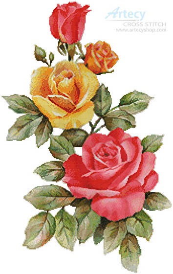 cross stitch pattern Pink and Yellow Roses