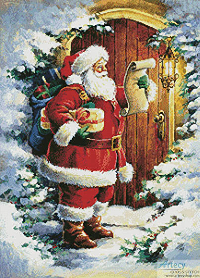 Santa At The Door Cross Stitch Pattern Santa