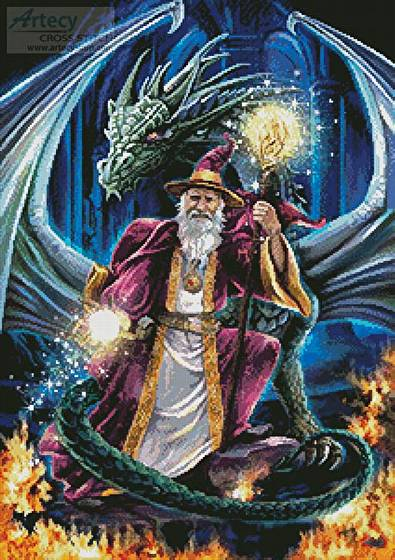 Wizard With Dragon Cross Stitch Pattern Fantasy