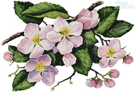 cross stitch pattern Apple Blossoms Painting