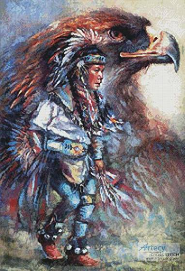 Eagle Dancer Cross Stitch Pattern Native