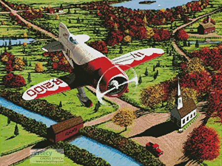 cross stitch pattern Gee Bee over New England