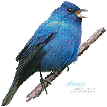 cross stitch pattern Indigo Bunting