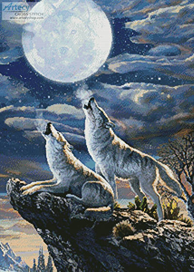 cross stitch pattern Midnight Wolves