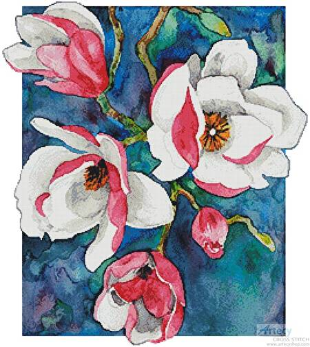 cross stitch pattern Magnificent Magnolias 2