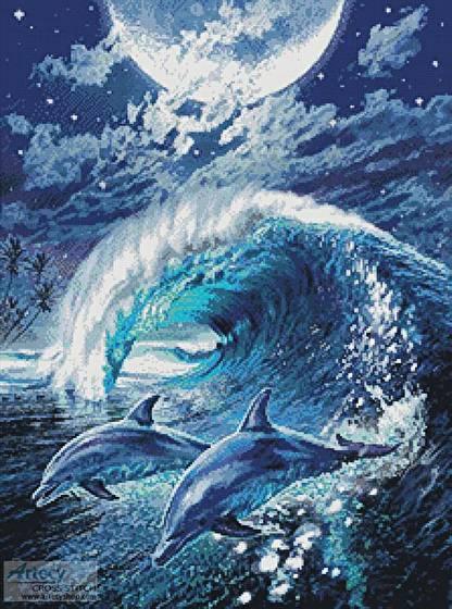 moonlight tryst cross stitch pattern dolphin