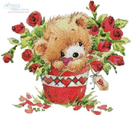 cross stitch pattern Teddy with Roses