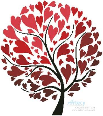 cross stitch pattern Tree of Hearts