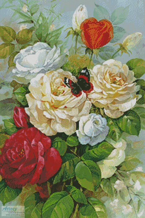 cross stitch pattern Butterfly and Roses