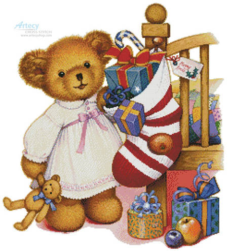 cross stitch pattern Christmas Teddy Girl