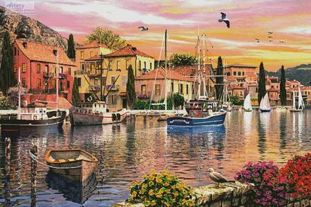 cross stitch pattern Harbour Sunset (Large)